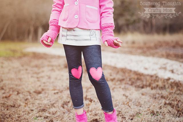 No Sew Heart Appliqued Leggings Tutorial