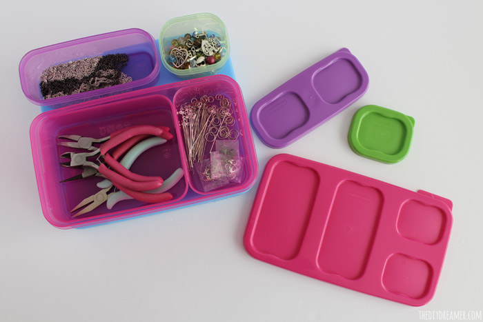 Rubbermaid LunchBlox as storage for jewelry making supplies.