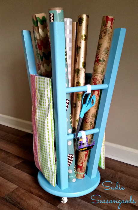 Stool Wrapping Station. Transform a stool into a wrapping paper caddy.