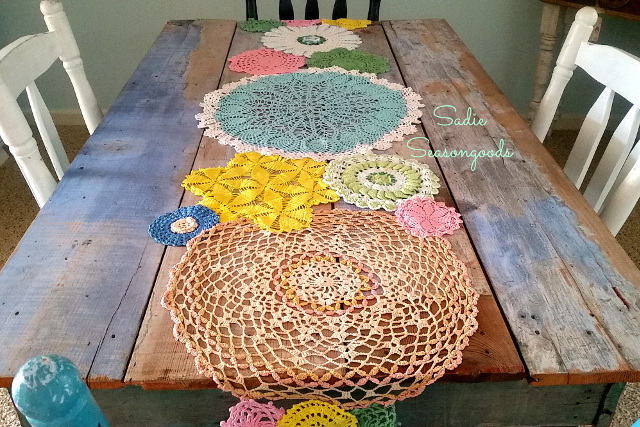 DIY Spring Doily Table Runner