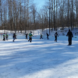 Staying active during the winter is important too! Broomball is a great winter sport!
