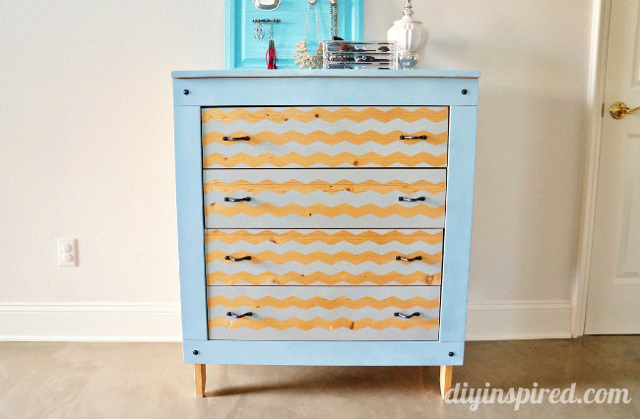 Spray Painted Chevron Dresser DIY