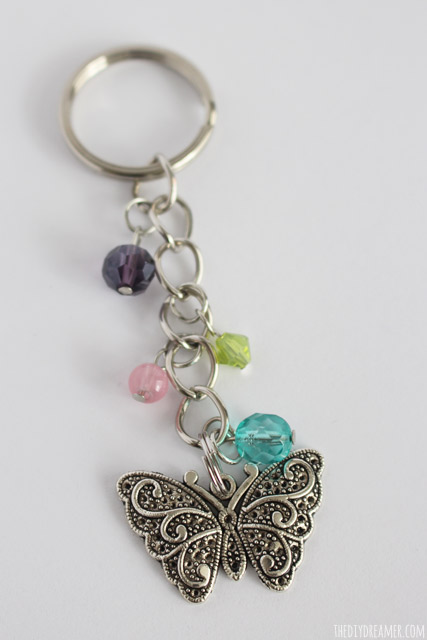 Beautiful Handmade Butterfly Beaded Keychain! This simple project makes a great personalized gift!