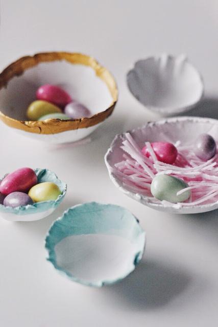"""""""Eggshell"""" Easter Nest Bowls"""