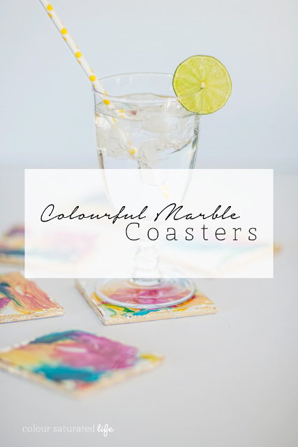 DIY Colourful Marble Coasters