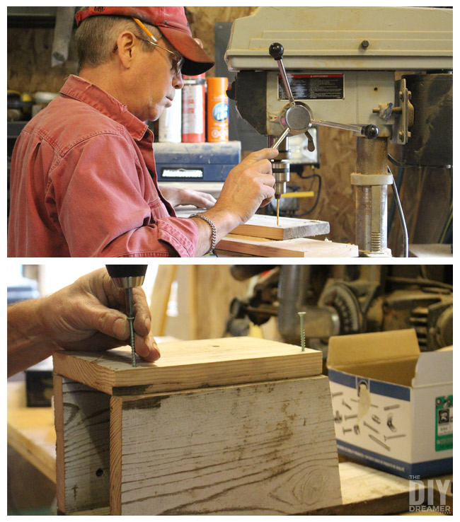 Using the drill press to pre-drill holes (drill pilot holes) in order to assemble the bird houses with screws
