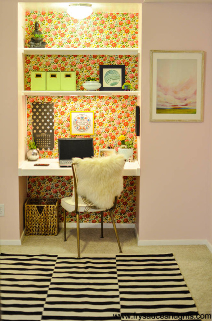 Retro Pink and Feminine Office Makeover