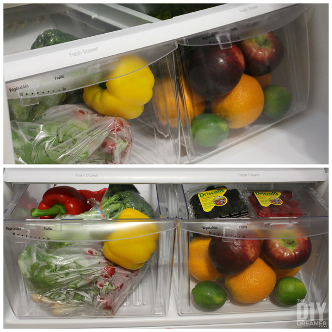 Fresh Drawers full of fruits and vegetables.