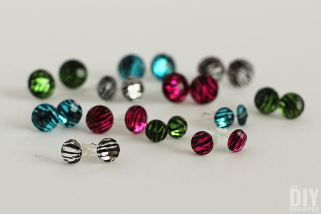 DIY Gem Stud Earrings using stickers!