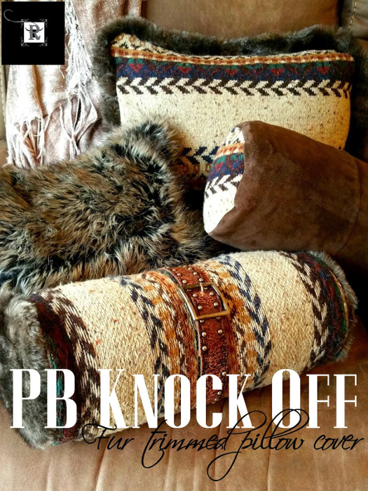 PB Knock Off - Fur Trimmed Sweater Pillow Cover