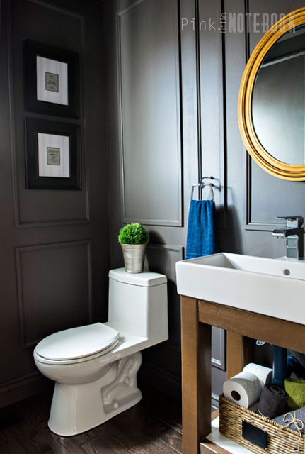 Dated Powder Room gets a Moody Makeover