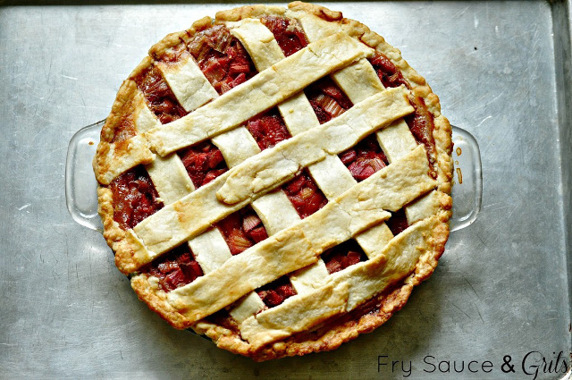Rhubarb Strawberry Pie with Sour Cream