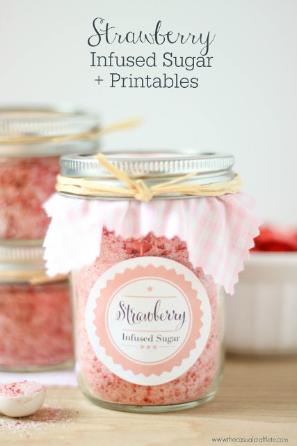 Strawberry Infused Sugar and Printables
