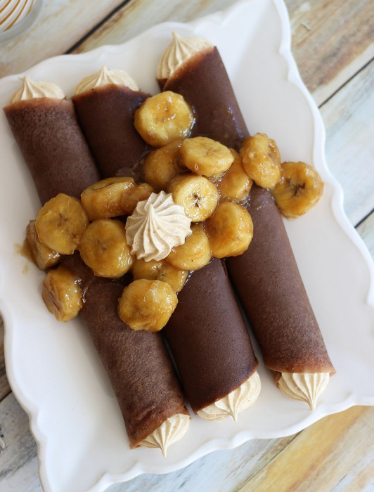 Chocolate Crepes with Peanut Butter Marshmallow Filling and Caramelized Bananas