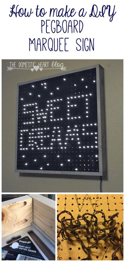 """DIY Pegboard Marquee: Nursery """"Sweet Dreams"""" Sign"""