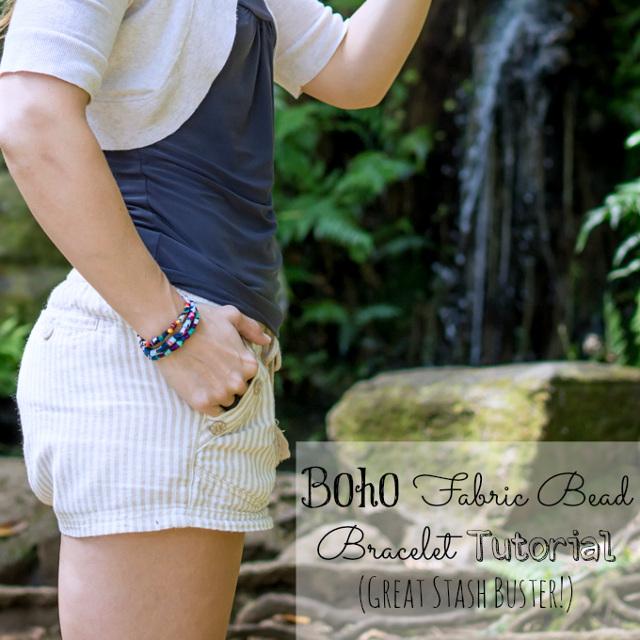 Boho Fabric Bead Bracelet Tutorial