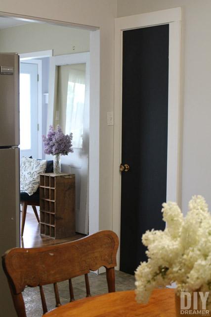 Transform a closet door into a giant chalkboard.