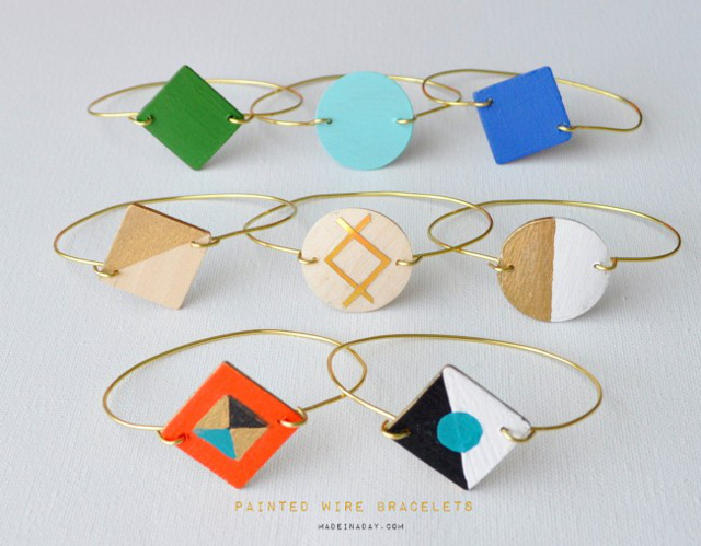 Painted Wood Wire Bracelets