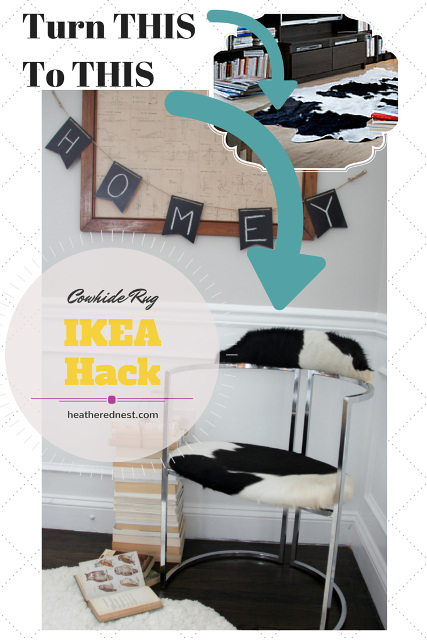 Cowhide Rug Ikea Hack! Give an old chair a new look with a cowhide rug! Chrome and Cowhide Chair.