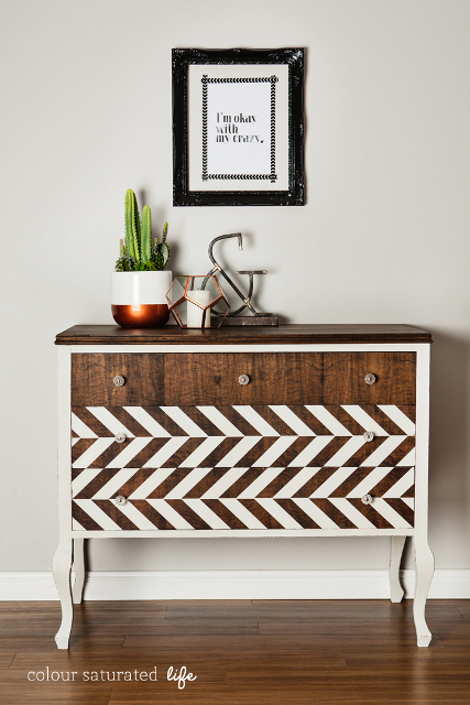 Absolutely beautiful Dresser Makeover with Herringbone Pattern