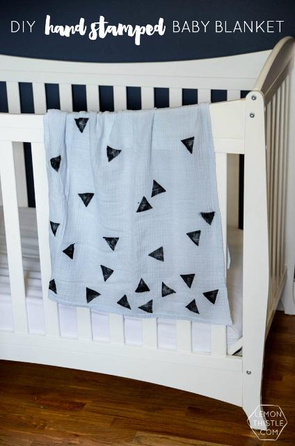 DIY Hand Stamped Baby Blanket
