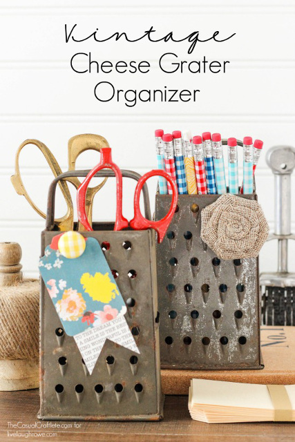 Vintage Cheese Grater Organizer and Magnetic Memo Board