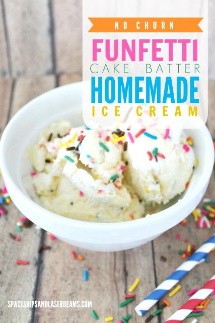 No Churn Funfetti Cake Batter Homemade Ice Cream