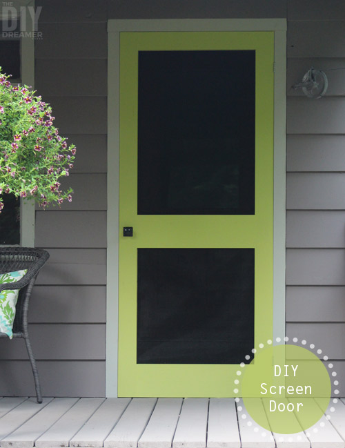 A great way to add some color to your front porch is by building a screen door and painting it a fun bright color. DIY Screen Door. thediydreamer.com