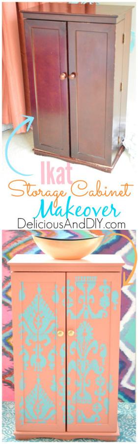 Ikat Storage Cabinet Makeover