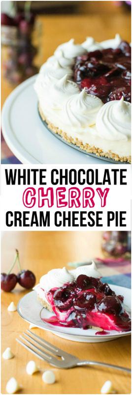 White Chocolate Cherry Cream Cheese Pie