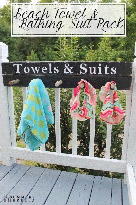 DIY Beach Towel and Bathing Suit Rack
