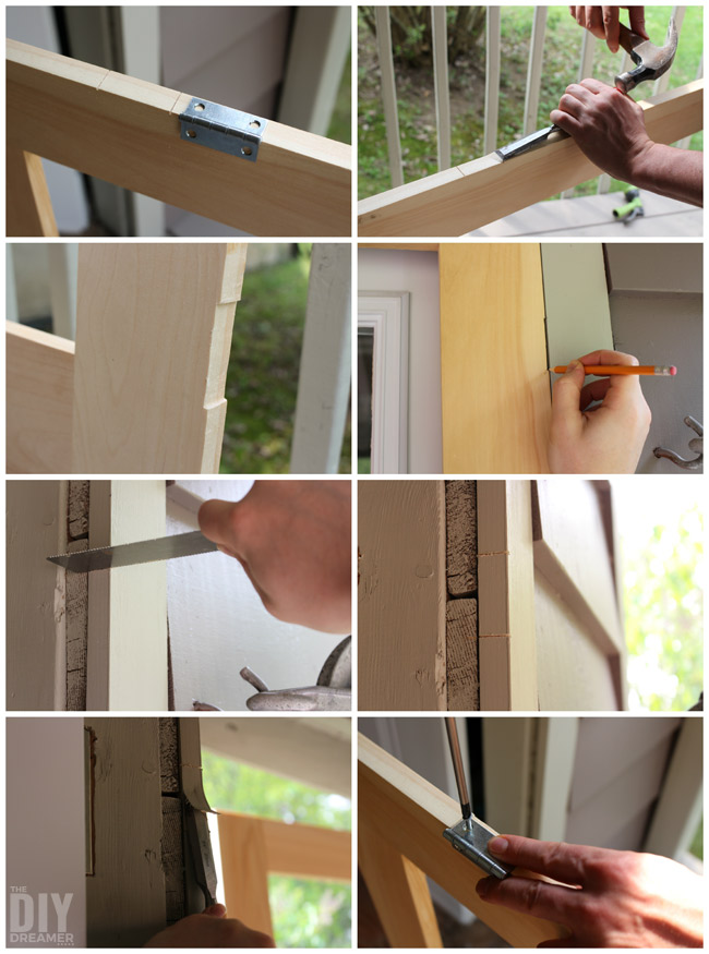 Attaching hinges to a door frame and door.