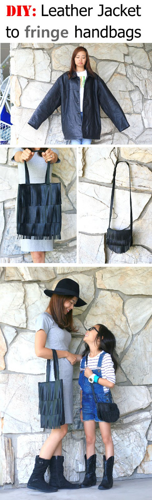 Men's Leather Jacket to fringe tote bag + fringe shoulder bag