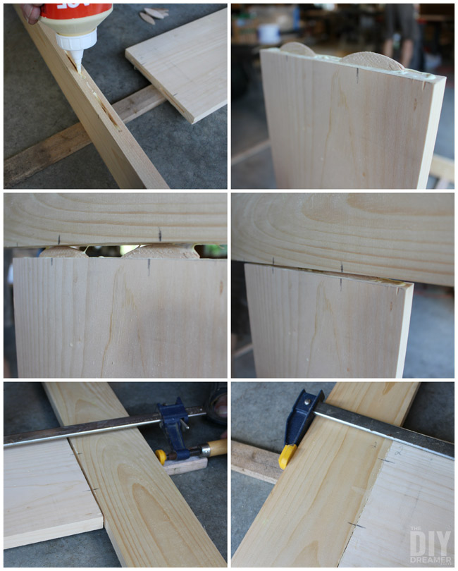 Gluing together a screen door.