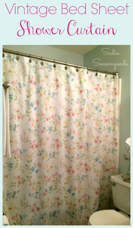 Vintage Bed Sheet Shower Curtain