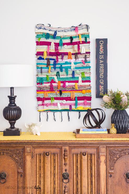 Beautiful DIY Wall Weave created with a Chindi Rug.