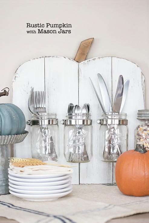 Rustic Pumpkin with Mason Jars