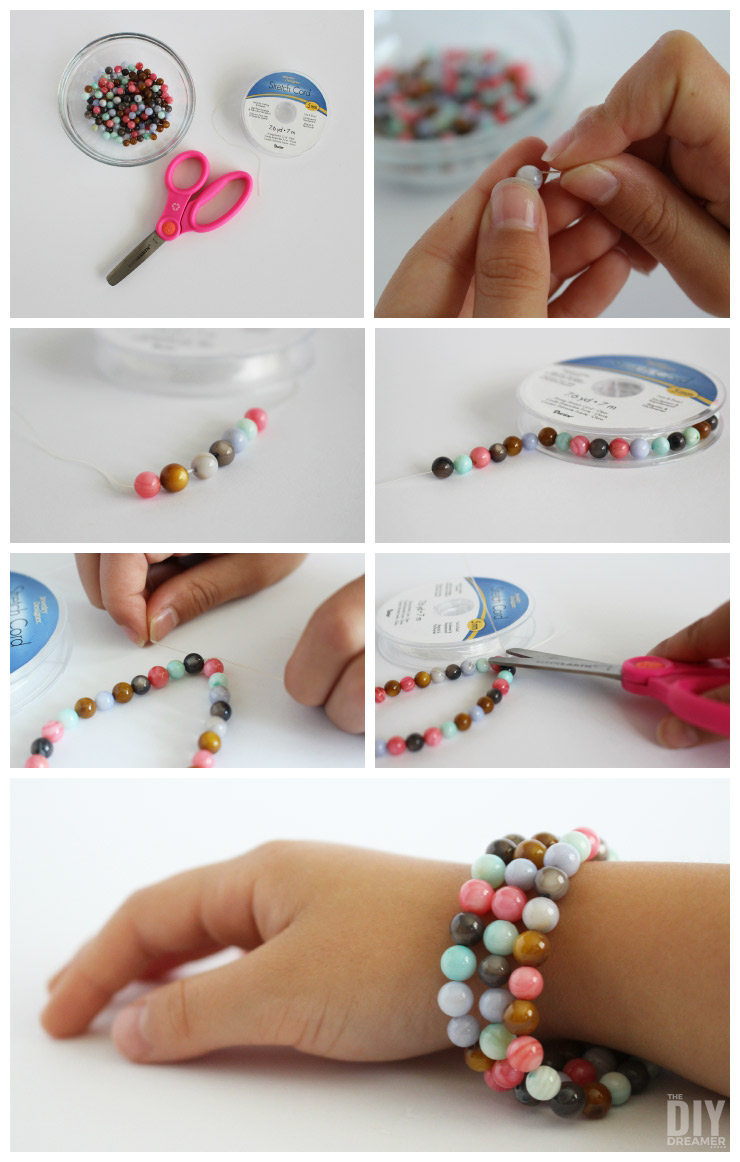 Kids Crafts - Beaded Stretch Bracelets. These beaded stretch bracelets are such a great craft to do with your kids. Fun, easy, and every bracelet they make will be a unique creation by them.