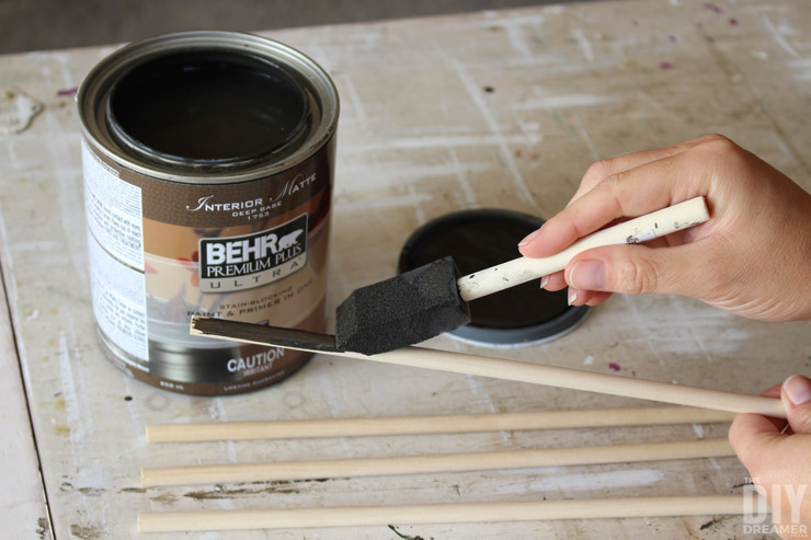 Painting dowels