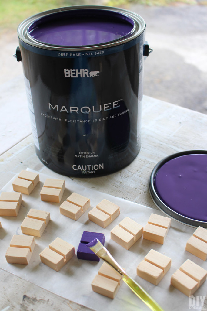 Painting the Instagram Photo Stands in BEHR MARQUEE Perpetual Purple (MQ5-42).