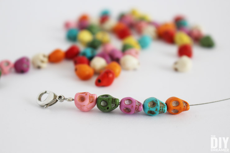 Colorful Skull Bracelets. Learn how to make beautiful bracelets with colorful skull beads. This DIY jewelry tutorial is perfect for beginners. Makes a great Halloween craft!