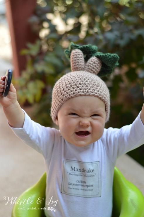 Crochet Mandrake Baby Hat from Harry Potter.