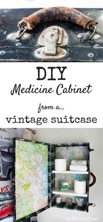 DIY Medicine Cabinet with a Vintage Suitcase