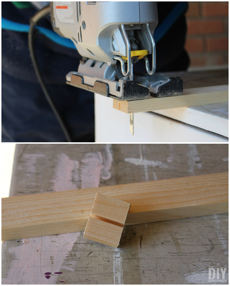 Using a jig saw to cut small pieces of woof.