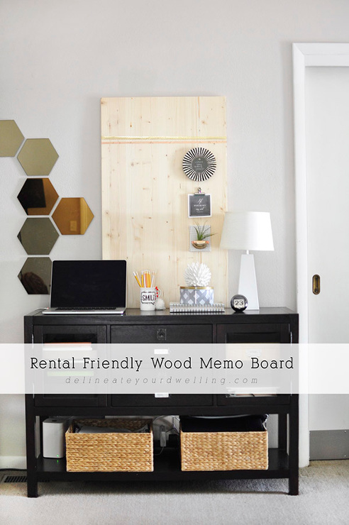 Rental Friendly Wood Memo Board