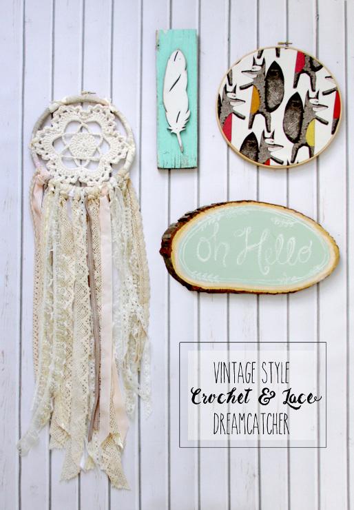 Vintage Style Crochet and Lace Dreamcatcher