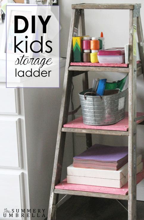 DIY Kids Storage Ladder