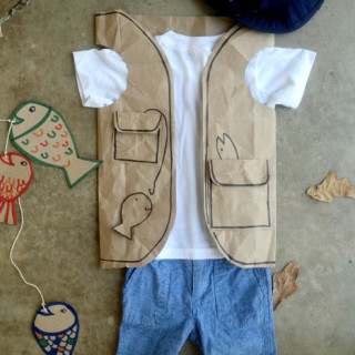 Easy Fisherman Costume made with brown paper bag!