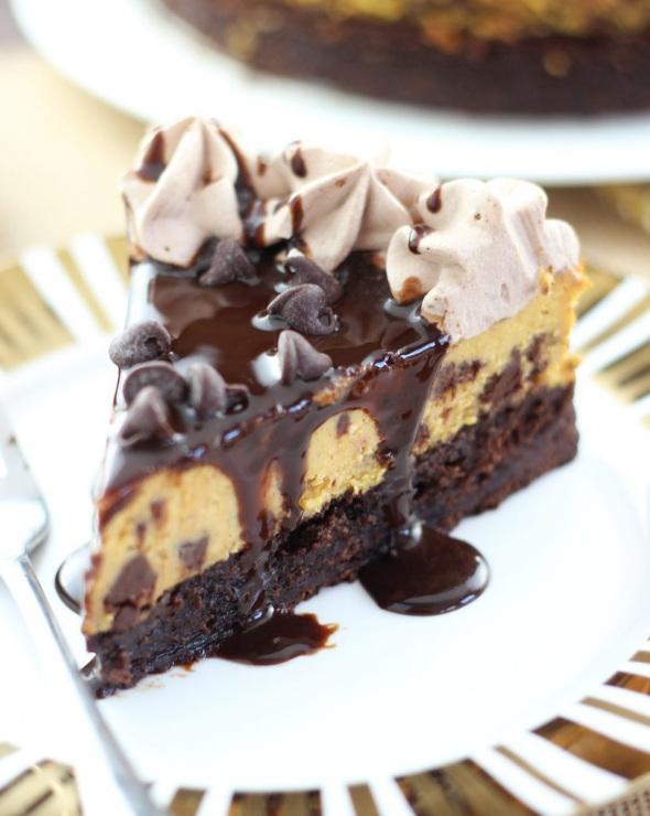 Pumpkin Chocolate Chip Brownie Cheesecake