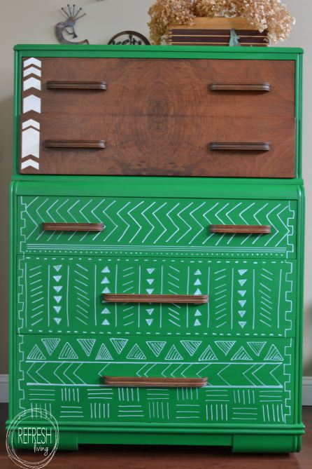 Emerald Dresser with Tribal Print Pattern
